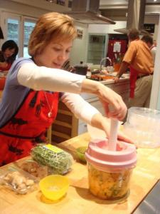 Using a pickle press for yang energy - photo courtesy of Palate Sensations